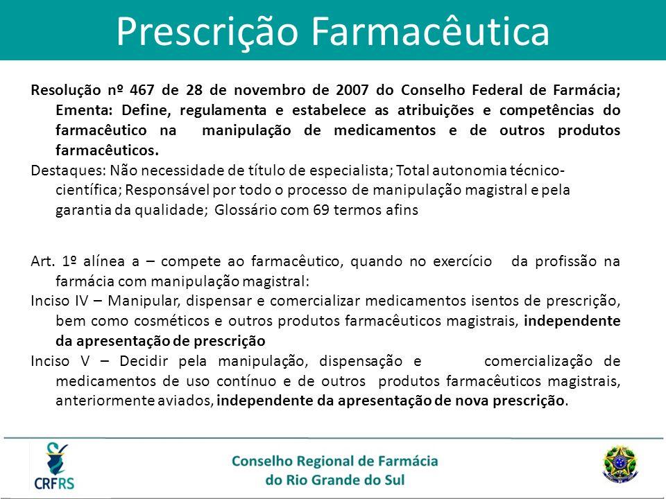 Prescrição Farmacêutica Resolução nº 467 de 28 de novembro de 2007 do Conselho Federal de Farmácia; Ementa: Define, regulamenta e estabelece as atribu
