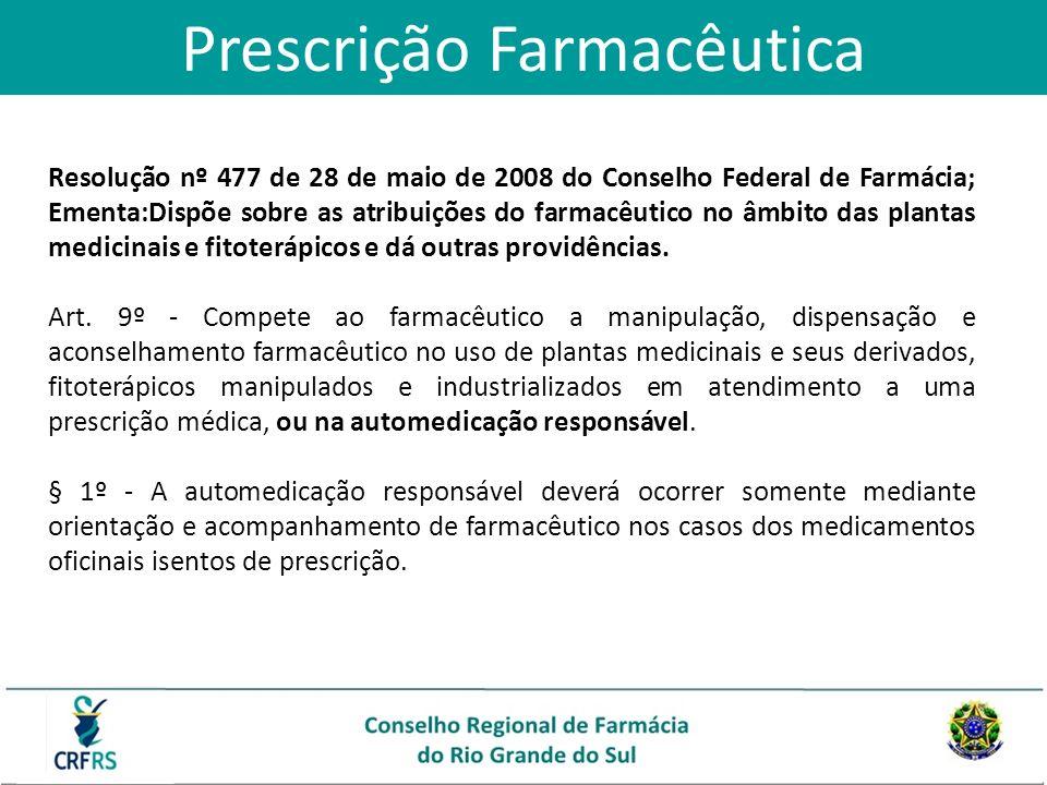 Prescrição Farmacêutica Resolução nº 477 de 28 de maio de 2008 do Conselho Federal de Farmácia; Ementa:Dispõe sobre as atribuições do farmacêutico no