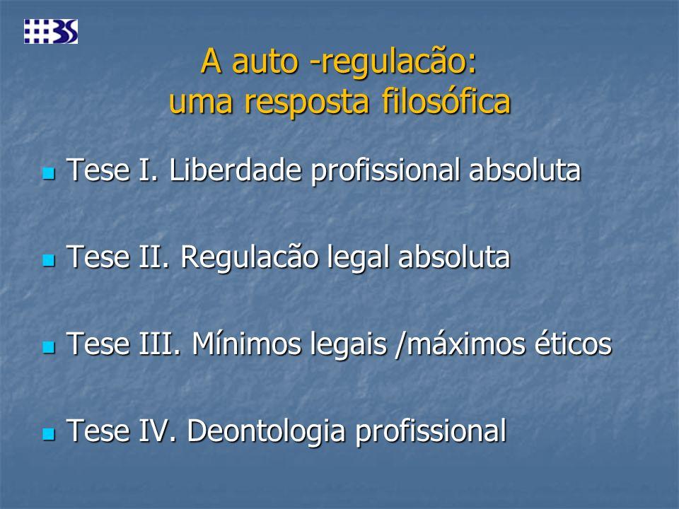 A auto -regulacão: uma resposta filosófica Tese I. Liberdade profissional absoluta Tese I. Liberdade profissional absoluta Tese II. Regulacão legal ab