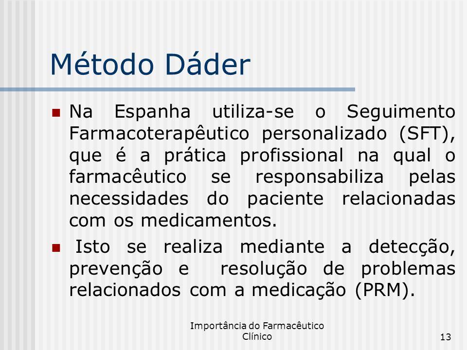 Importância do Farmacêutico Clínico13 Método Dáder Na Espanha utiliza-se o Seguimento Farmacoterapêutico personalizado (SFT), que é a prática profissi