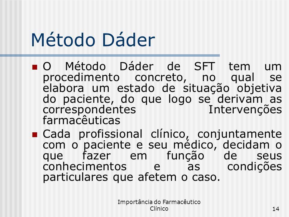 Importância do Farmacêutico Clínico14 Método Dáder O Método Dáder de SFT tem um procedimento concreto, no qual se elabora um estado de situação objeti