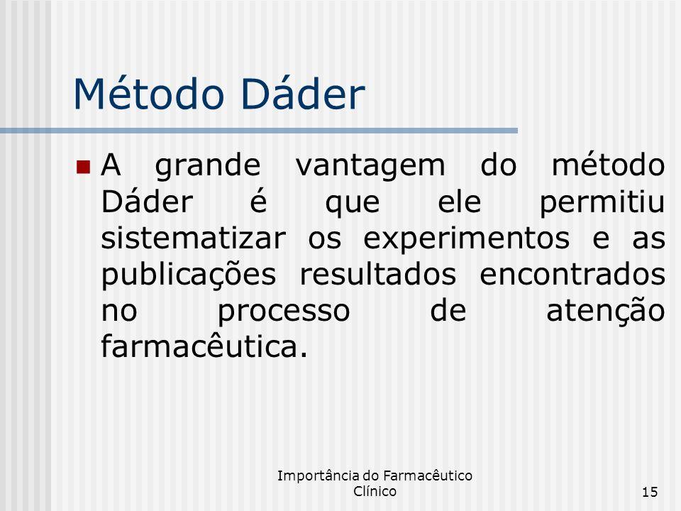 Importância do Farmacêutico Clínico15 Método Dáder A grande vantagem do método Dáder é que ele permitiu sistematizar os experimentos e as publicações