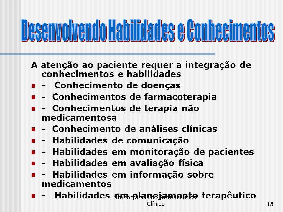 Importância do Farmacêutico Clínico18 A atenção ao paciente requer a integração de conhecimentos e habilidades - Conhecimento de doenças - Conheciment