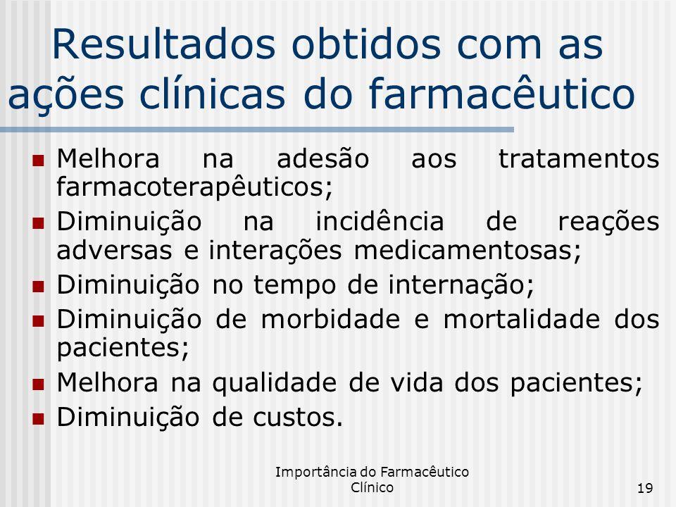 Importância do Farmacêutico Clínico19 Resultados obtidos com as ações clínicas do farmacêutico Melhora na adesão aos tratamentos farmacoterapêuticos;