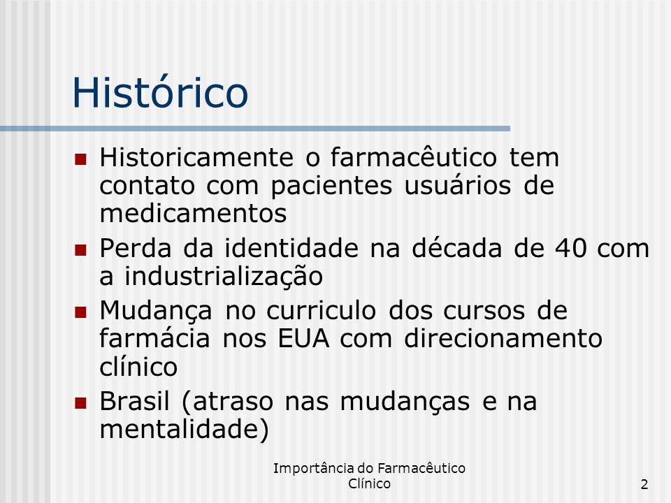 Importância do Farmacêutico Clínico2 Histórico Historicamente o farmacêutico tem contato com pacientes usuários de medicamentos Perda da identidade na