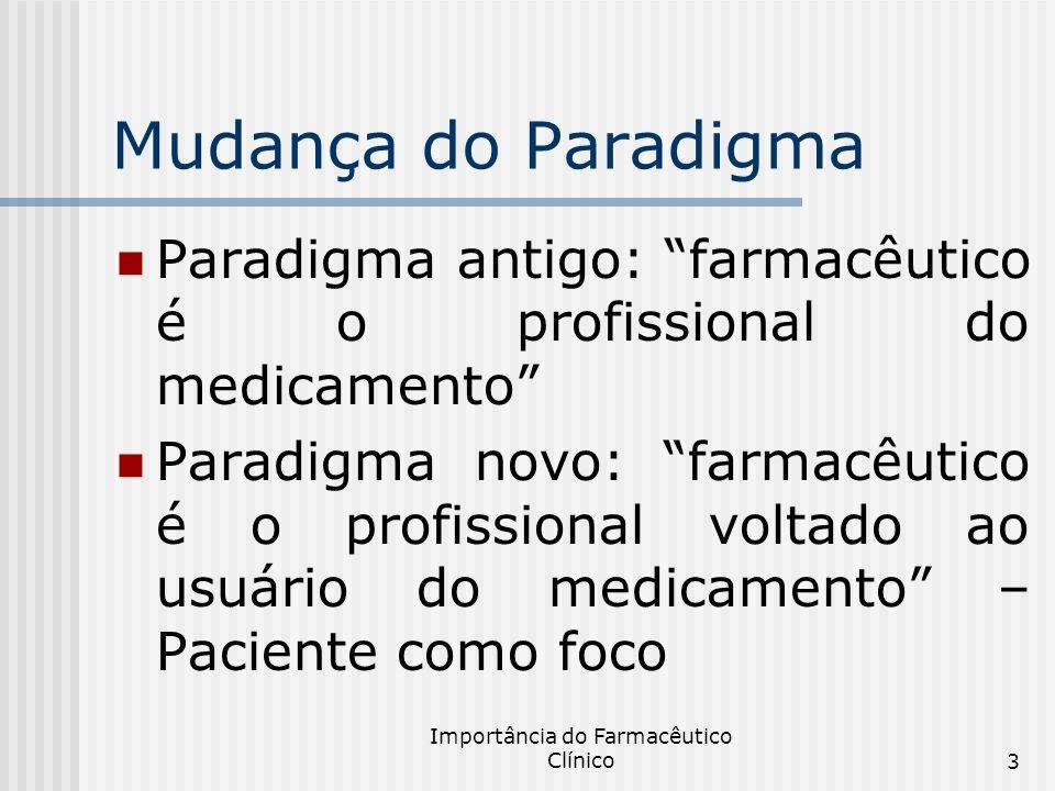 Importância do Farmacêutico Clínico3 Mudança do Paradigma Paradigma antigo: farmacêutico é o profissional do medicamento Paradigma novo: farmacêutico
