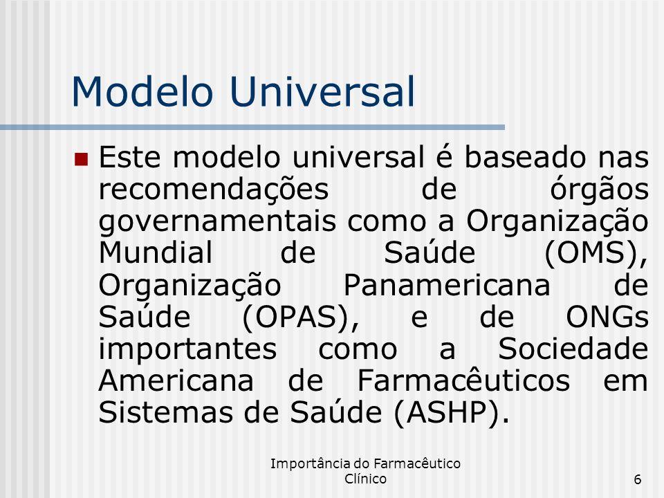 Importância do Farmacêutico Clínico6 Modelo Universal Este modelo universal é baseado nas recomendações de órgãos governamentais como a Organização Mu