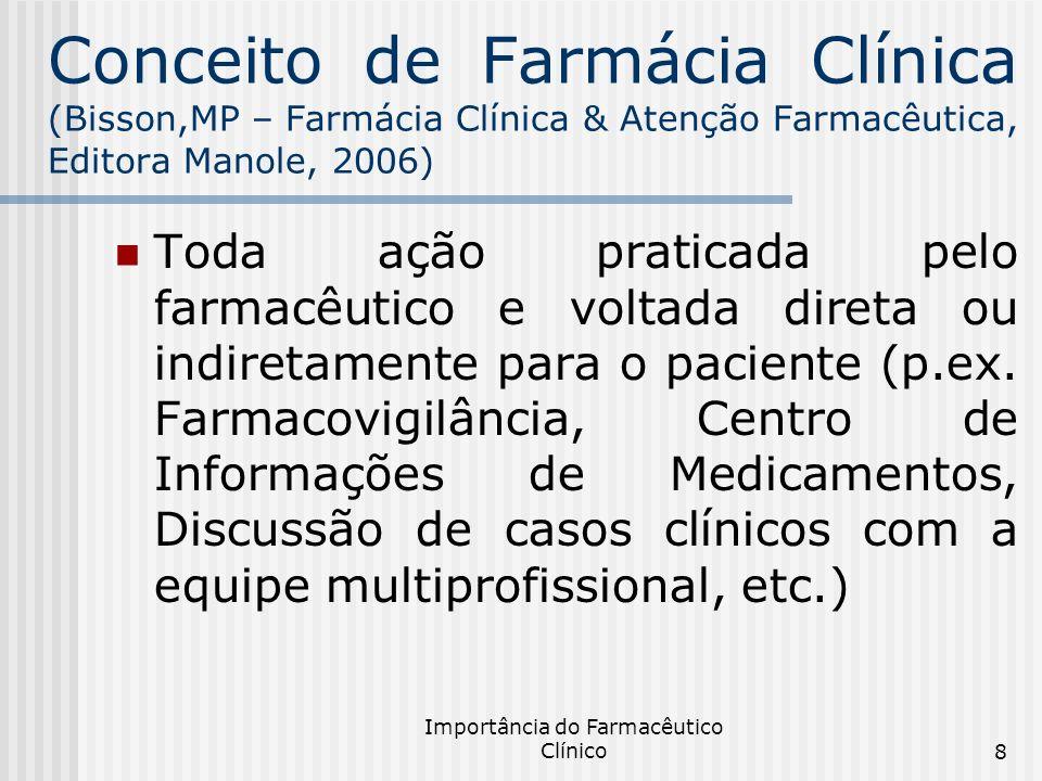 Importância do Farmacêutico Clínico19 Resultados obtidos com as ações clínicas do farmacêutico Melhora na adesão aos tratamentos farmacoterapêuticos; Diminuição na incidência de reações adversas e interações medicamentosas; Diminuição no tempo de internação; Diminuição de morbidade e mortalidade dos pacientes; Melhora na qualidade de vida dos pacientes; Diminuição de custos.