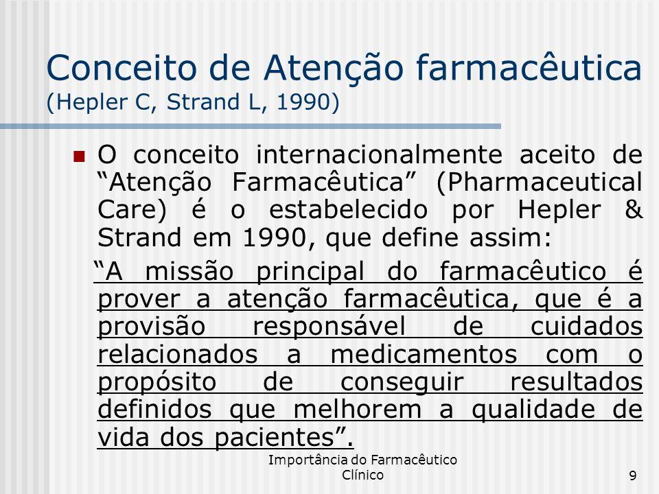 Importância do Farmacêutico Clínico9 Conceito de Atenção farmacêutica (Hepler C, Strand L, 1990) O conceito internacionalmente aceito de Atenção Farma
