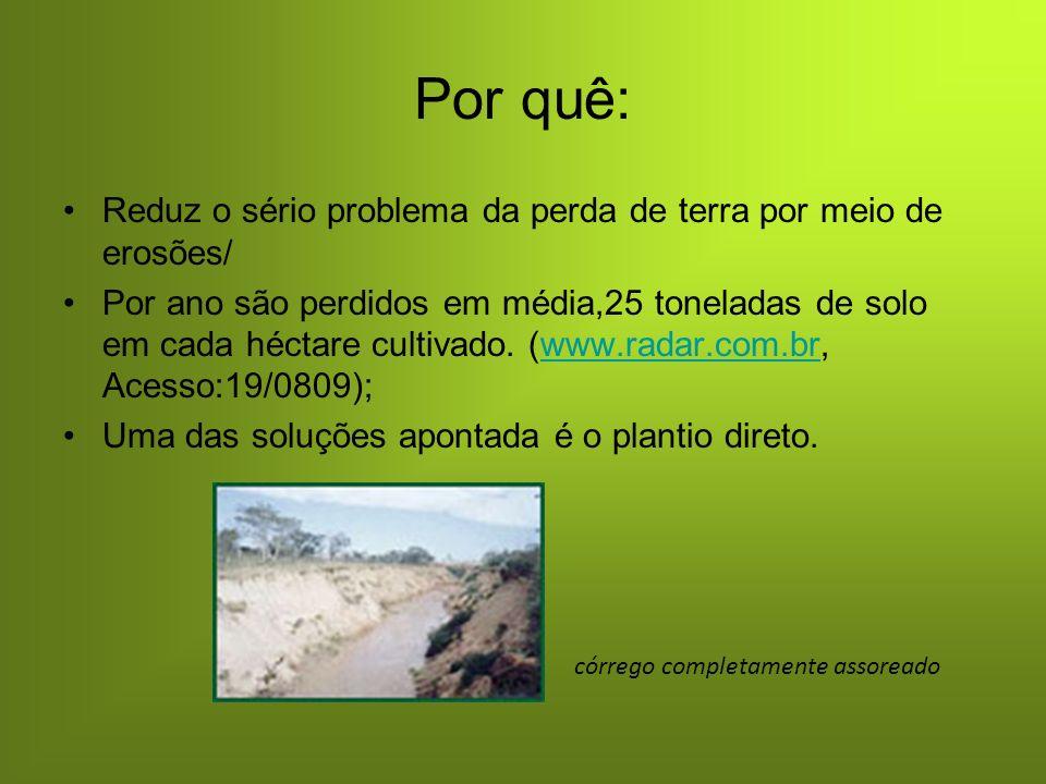 Por quê: Reduz o sério problema da perda de terra por meio de erosões/ Por ano são perdidos em média,25 toneladas de solo em cada héctare cultivado.