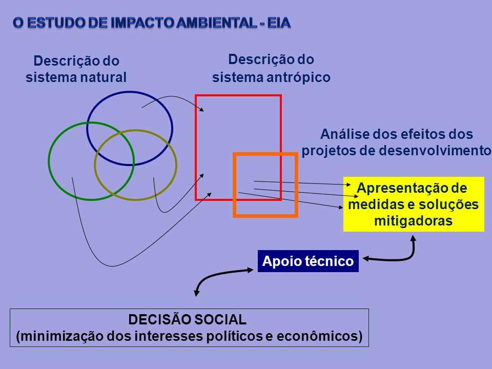 Descrição do sistema natural Apresentação de medidas e soluções mitigadoras Descrição do sistema antrópico Análise dos efeitos dos projetos de desenvo