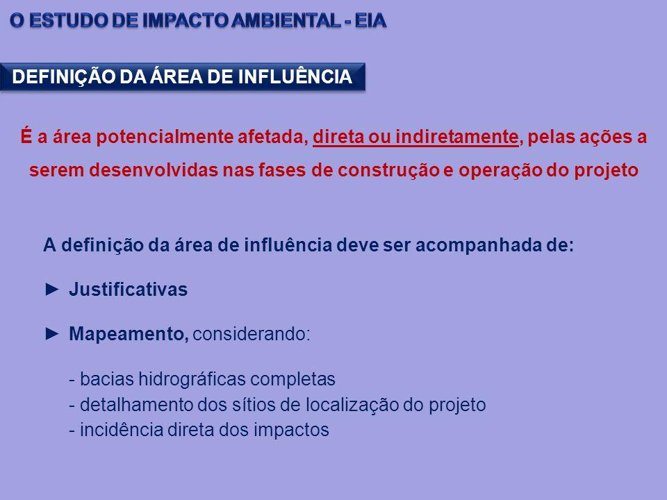 DEFINIÇÃO DA ÁREA DE INFLUÊNCIA É a área potencialmente afetada, direta ou indiretamente, pelas ações a serem desenvolvidas nas fases de construção e