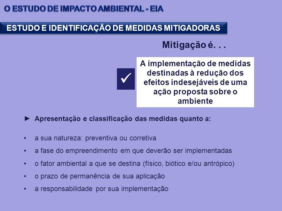 Apresentação e classificação das medidas quanto a: a sua natureza: preventiva ou corretiva a fase do empreendimento em que deverão ser implementadas o