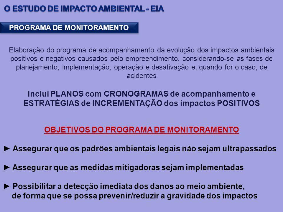Elaboração do programa de acompanhamento da evolução dos impactos ambientais positivos e negativos causados pelo empreendimento, considerando-se as fa