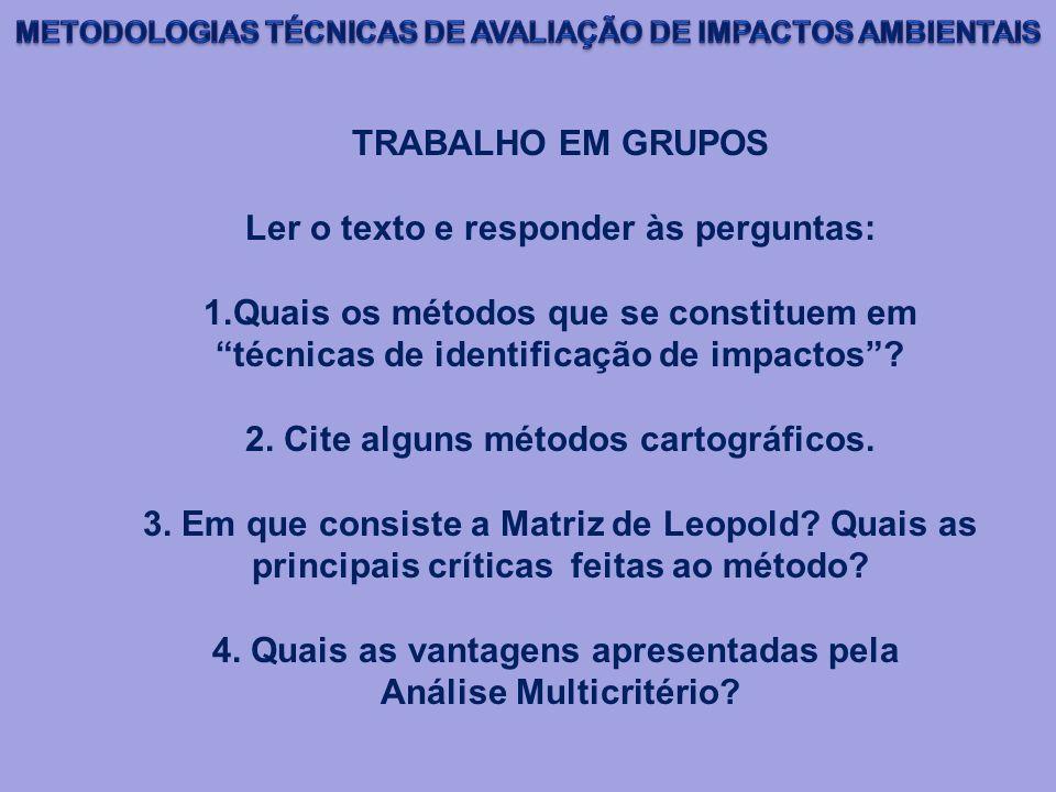 TRABALHO EM GRUPOS Ler o texto e responder às perguntas: 1.Quais os métodos que se constituem em técnicas de identificação de impactos? 2. Cite alguns