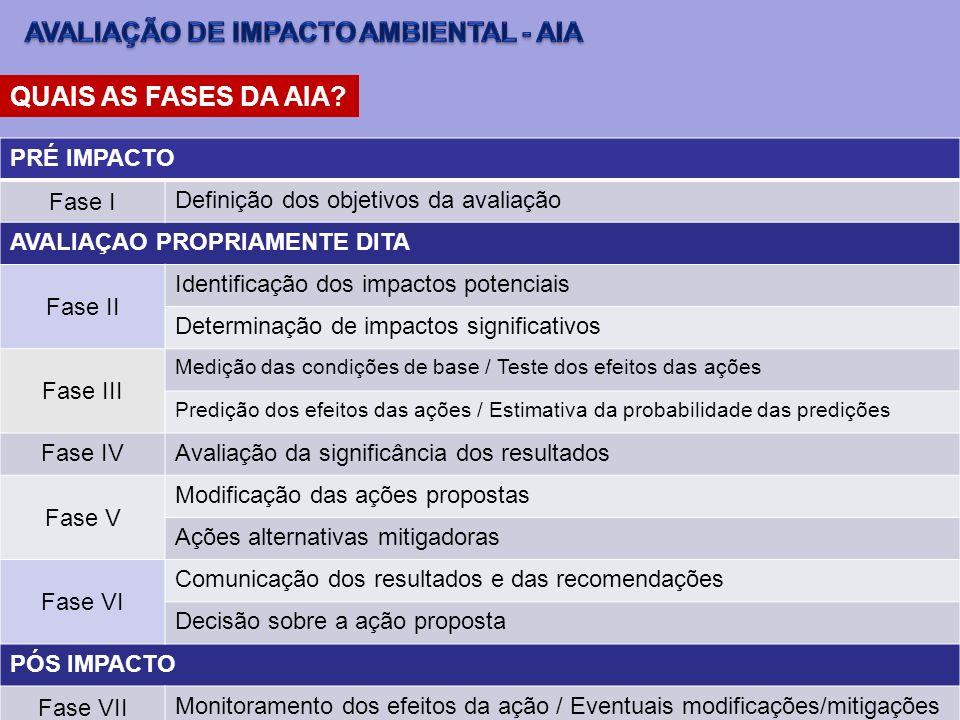 QUAIS AS FASES DA AIA? PRÉ IMPACTO Fase I Definição dos objetivos da avaliação AVALIAÇAO PROPRIAMENTE DITA Fase II Identificação dos impactos potencia