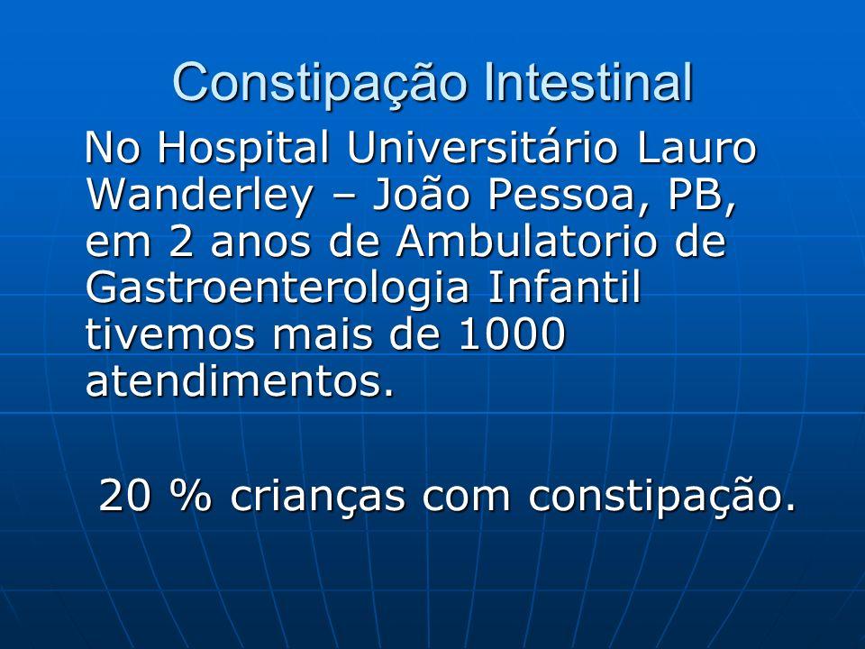 Constipação Intestinal No Hospital Universitário Lauro Wanderley – João Pessoa, PB, em 2 anos de Ambulatorio de Gastroenterologia Infantil tivemos mai