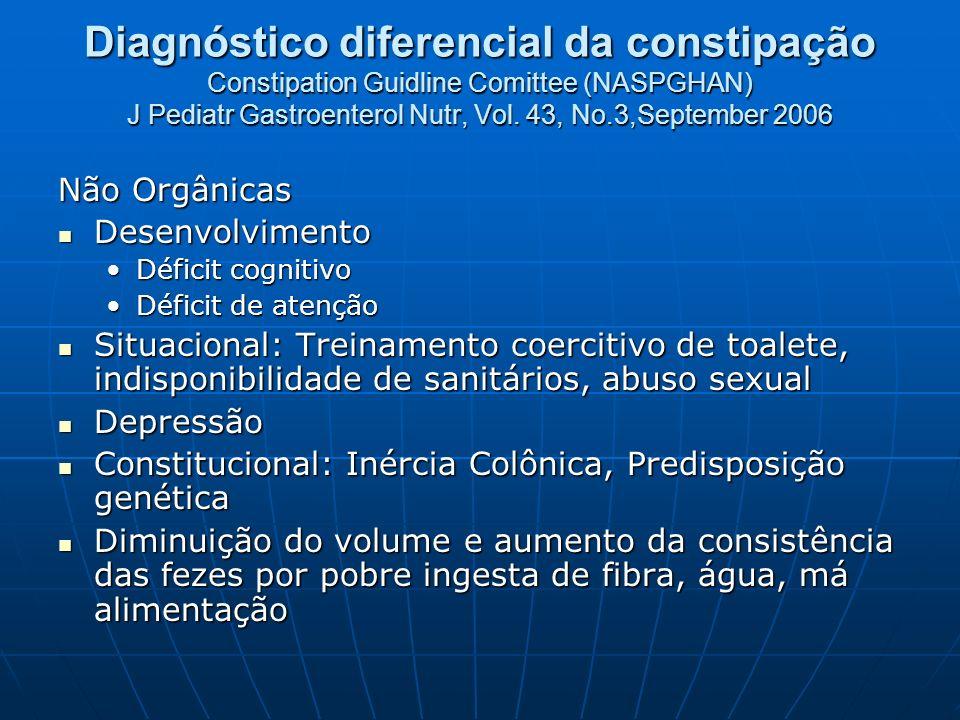 Diagnóstico diferencial da constipação Constipation Guidline Comittee (NASPGHAN) J Pediatr Gastroenterol Nutr, Vol. 43, No.3,September 2006 Não Orgâni