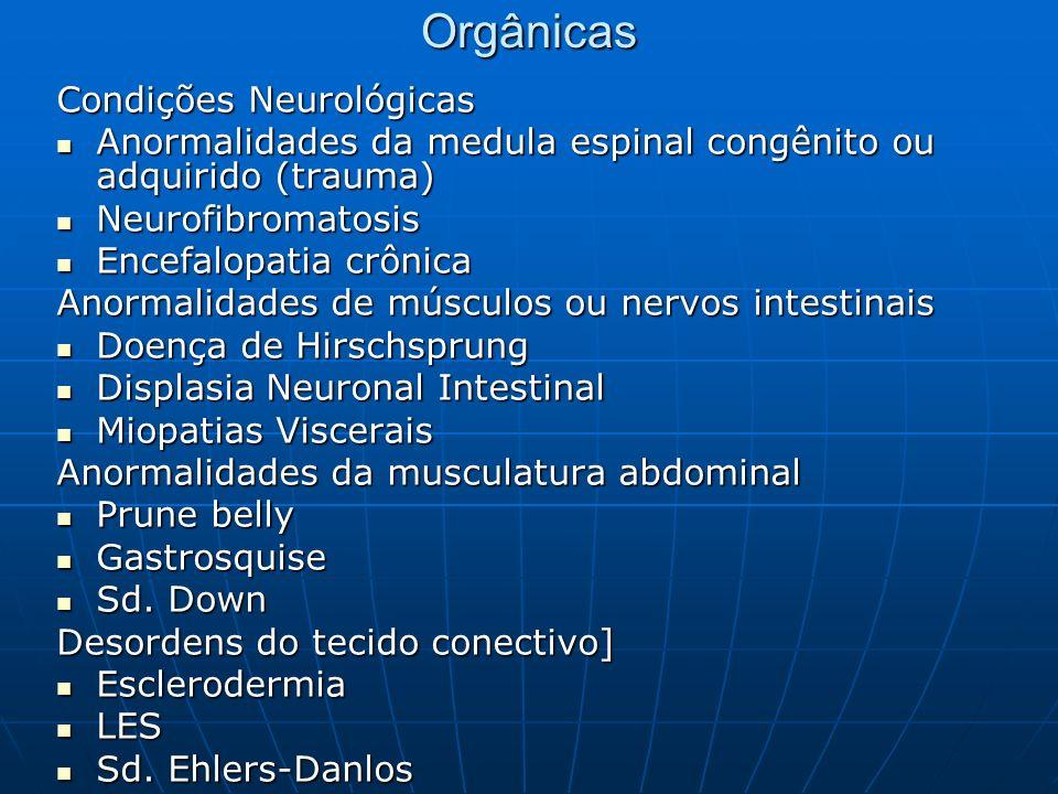 Orgânicas Condições Neurológicas Anormalidades da medula espinal congênito ou adquirido (trauma) Anormalidades da medula espinal congênito ou adquirid