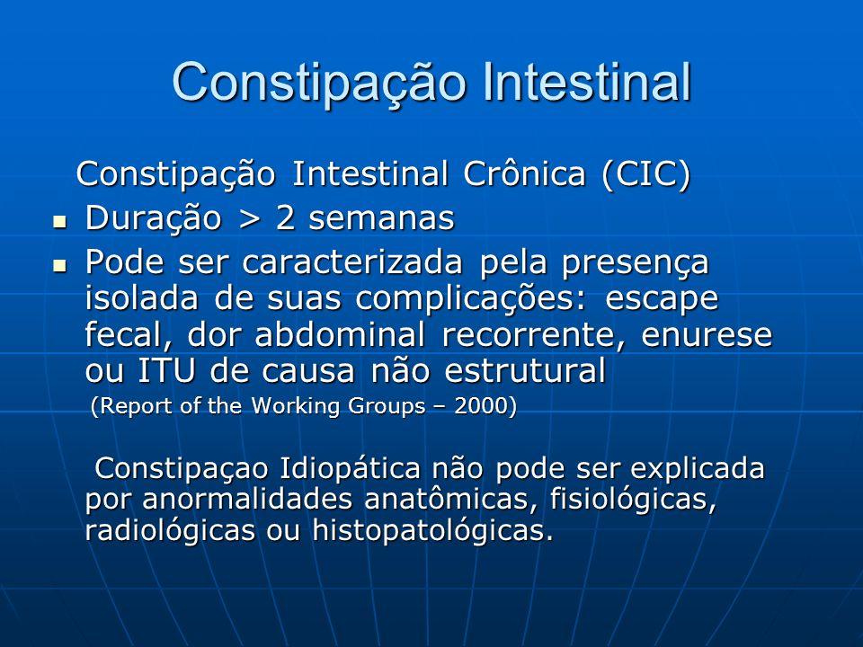 Constipação Intestinal Constipação Intestinal Crônica (CIC) Constipação Intestinal Crônica (CIC) Duração > 2 semanas Duração > 2 semanas Pode ser cara