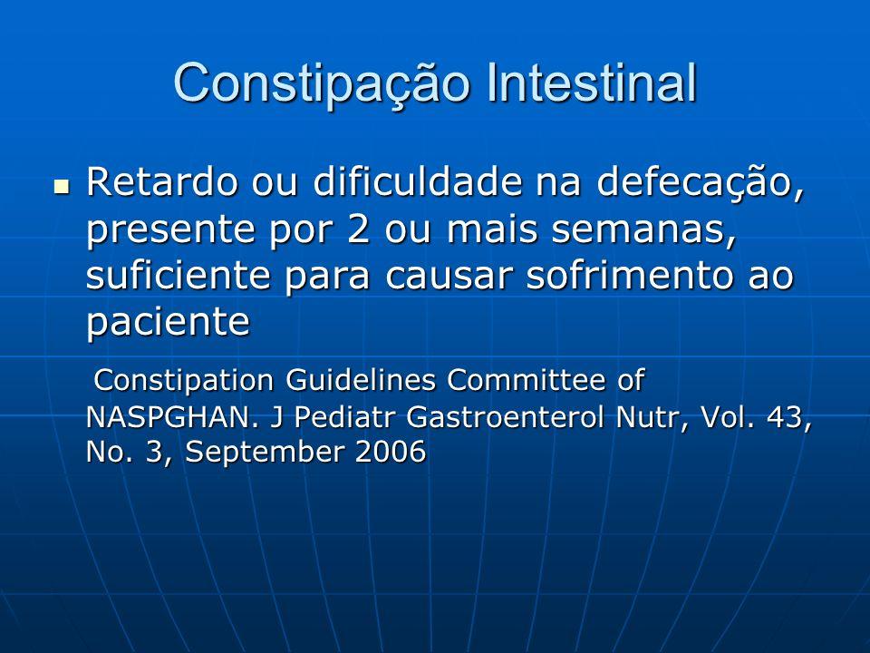 Constipação Intestinal Retardo ou dificuldade na defecação, presente por 2 ou mais semanas, suficiente para causar sofrimento ao paciente Retardo ou d