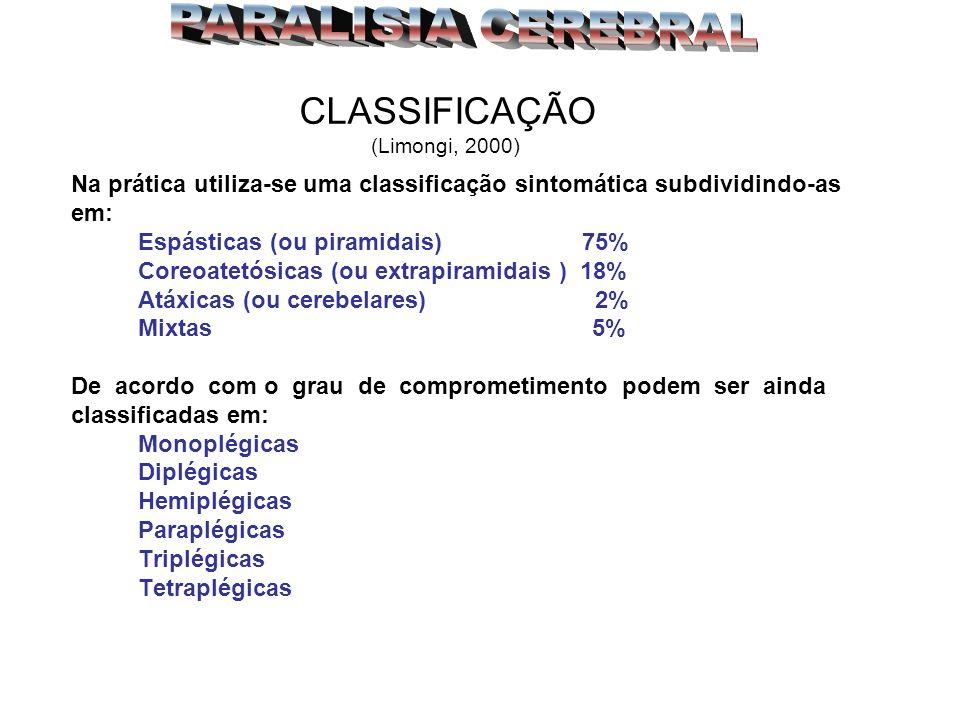 CLASSIFICAÇÃO (Limongi, 2000) Na prática utiliza-se uma classificação sintomática subdividindo-as em: Espásticas (ou piramidais) 75% Coreoatetósicas (