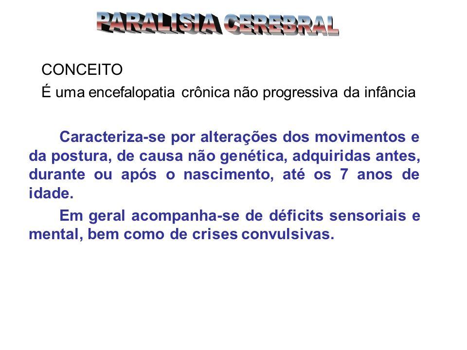 CONCEITO É uma encefalopatia crônica não progressiva da infância Caracteriza-se por alterações dos movimentos e da postura, de causa não genética, adq
