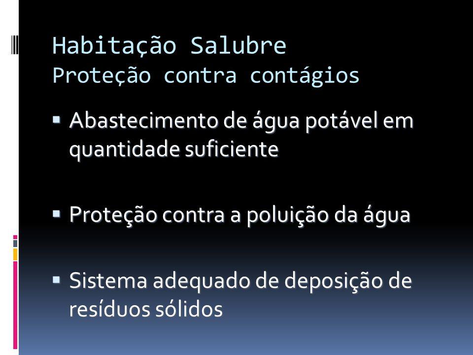 Habitação Salubre Proteção contra contágios Abastecimento de água potável em quantidade suficiente Abastecimento de água potável em quantidade suficie