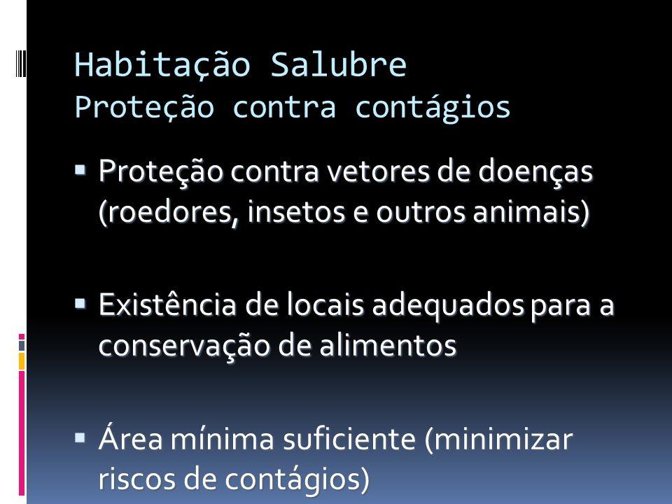 Habitação Salubre Proteção contra contágios Proteção contra vetores de doenças (roedores, insetos e outros animais) Proteção contra vetores de doenças