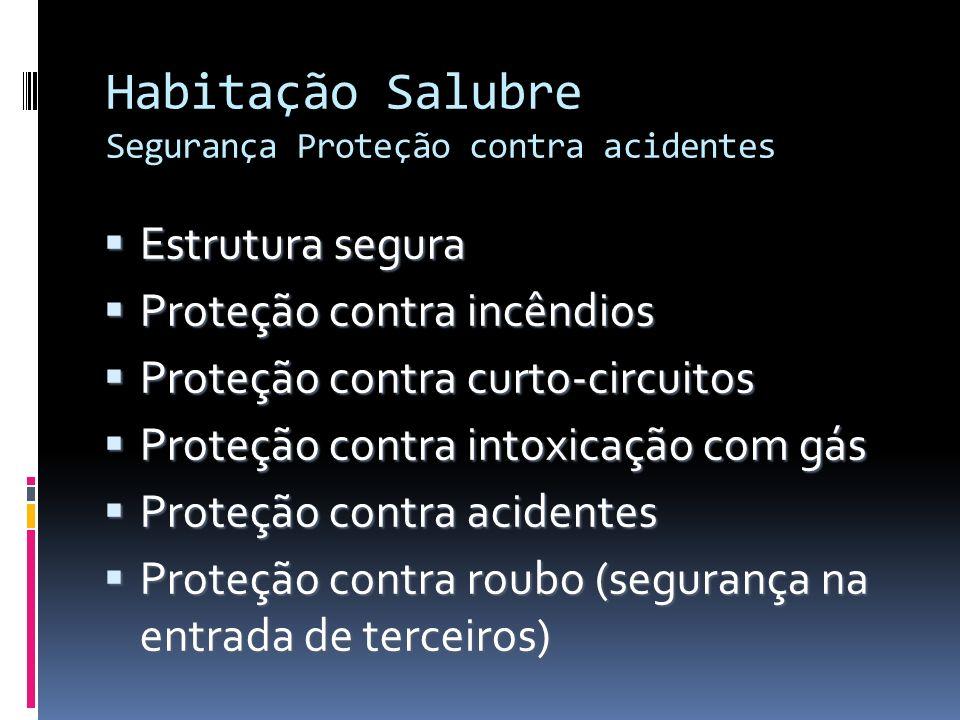 Habitação Salubre Segurança Proteção contra acidentes Estrutura segura Estrutura segura Proteção contra incêndios Proteção contra incêndios Proteção c