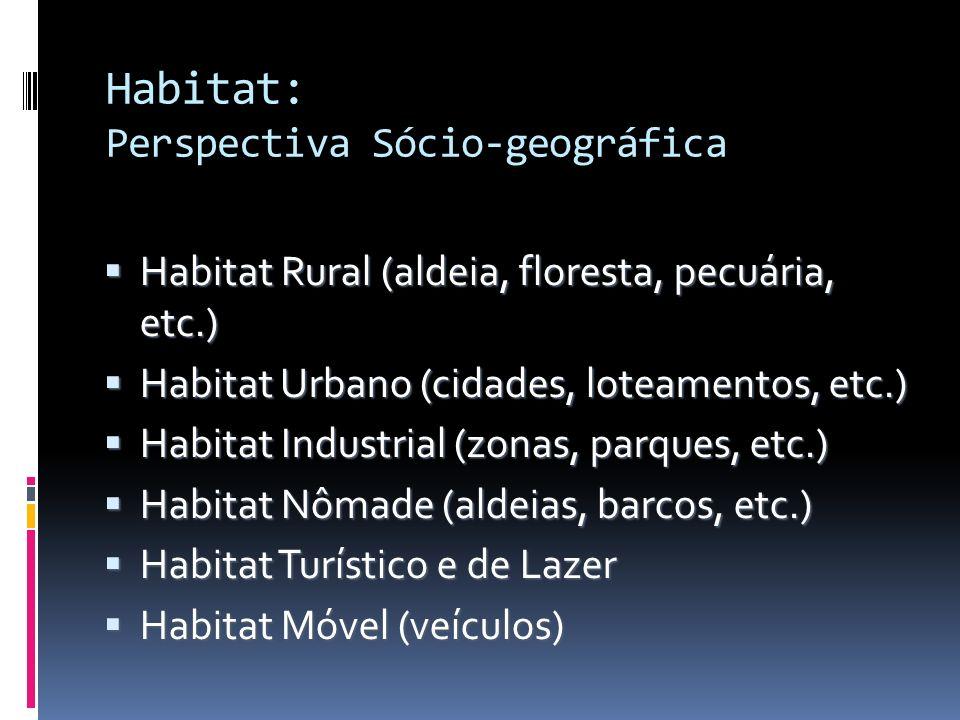 Habitat: Perspectiva Sócio-geográfica Habitat Rural (aldeia, floresta, pecuária, etc.) Habitat Rural (aldeia, floresta, pecuária, etc.) Habitat Urbano