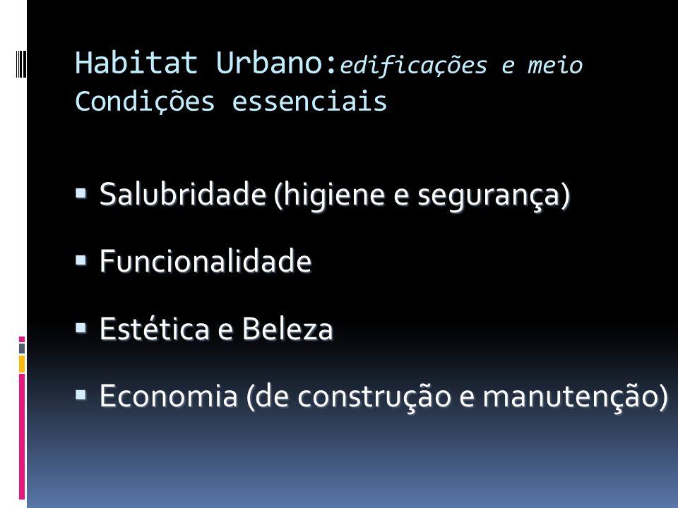 Habitat Urbano: edificações e meio Condições essenciais Salubridade (higiene e segurança) Salubridade (higiene e segurança) Funcionalidade Funcionalid