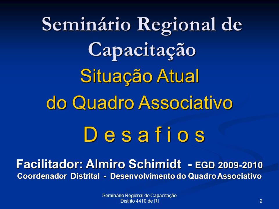 2 Seminário Regional de Capacitação Distrito 4410 de RI Seminário Regional de Capacitação Situação Atual do Quadro Associativo Facilitador: Almiro Sch