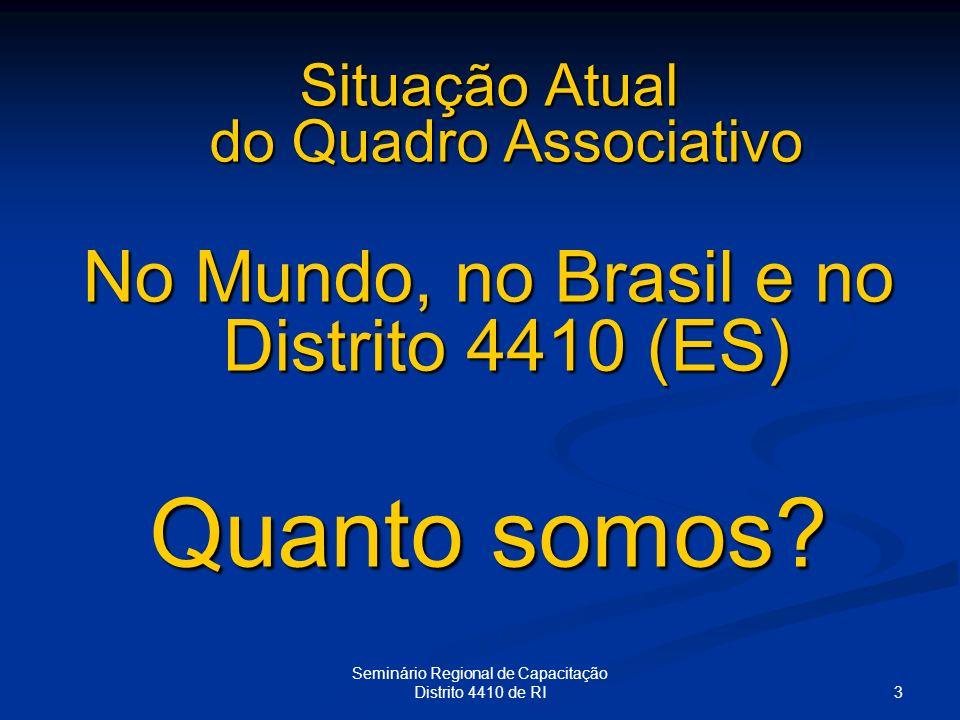 3 Seminário Regional de Capacitação Distrito 4410 de RI Situação Atual do Quadro Associativo No Mundo, no Brasil e no Distrito 4410 (ES) Quanto somos?