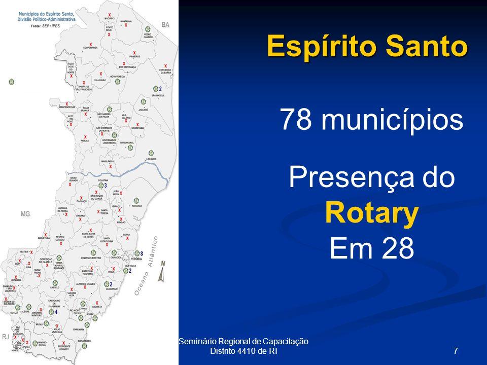 7 Seminário Regional de Capacitação Distrito 4410 de RI Espírito Santo 78 municípios Presença do Rotary Em 28
