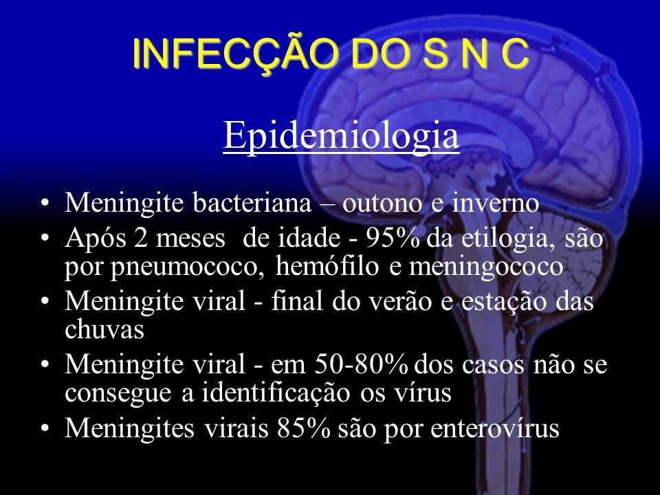 Epidemiologia Meningite bacteriana – outono e inverno Após 2 meses de idade - 95% da etilogia, são por pneumococo, hemófilo e meningococo Meningite viral - final do verão e estação das chuvas Meningite viral - em 50-80% dos casos não se consegue a identificação os vírus Meningites virais 85% são por enterovírus INFECÇÃO DO S N C