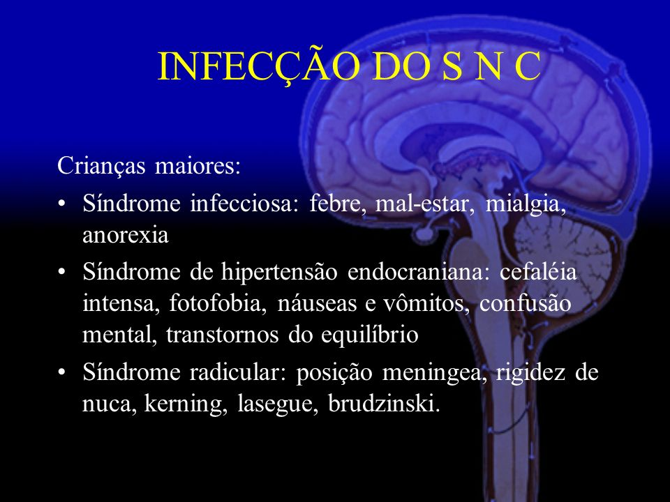 Crianças maiores: Síndrome infecciosa: febre, mal-estar, mialgia, anorexia Síndrome de hipertensão endocraniana: cefaléia intensa, fotofobia, náuseas e vômitos, confusão mental, transtornos do equilíbrio Síndrome radicular: posição meningea, rigidez de nuca, kerning, lasegue, brudzinski.