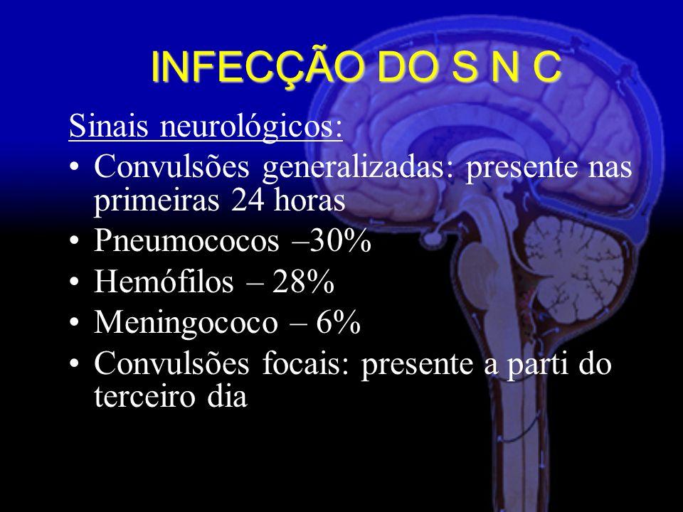 Sinais neurológicos: Convulsões generalizadas: presente nas primeiras 24 horas Pneumococos –30% Hemófilos – 28% Meningococo – 6% Convulsões focais: presente a parti do terceiro dia INFECÇÃO DO S N C