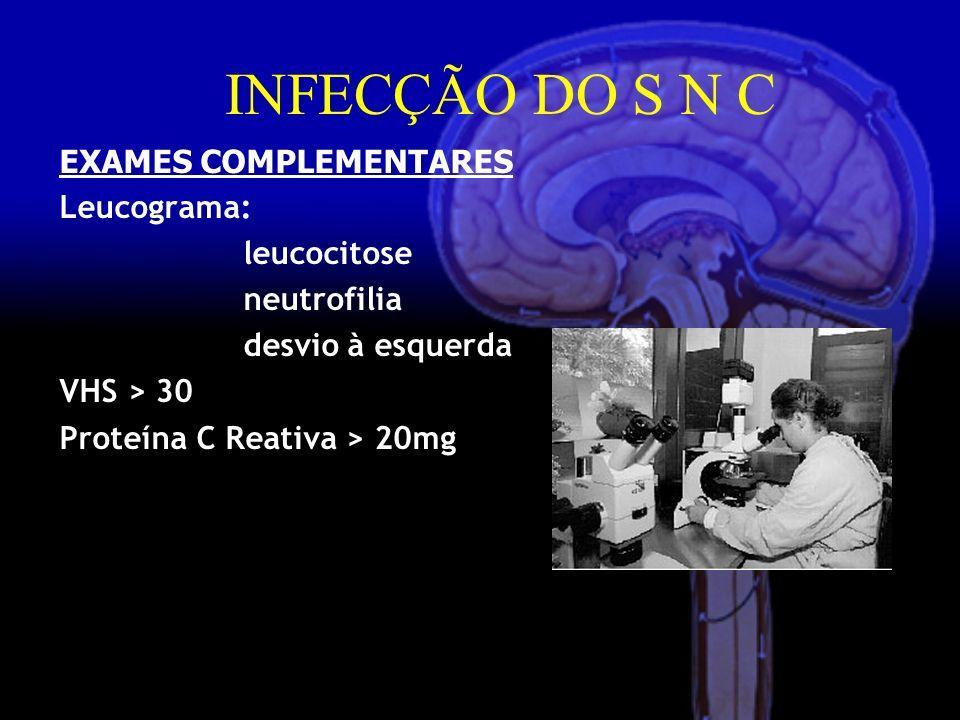 EXAMES COMPLEMENTARES Leucograma: leucocitose neutrofilia desvio à esquerda VHS > 30 Proteína C Reativa > 20mg