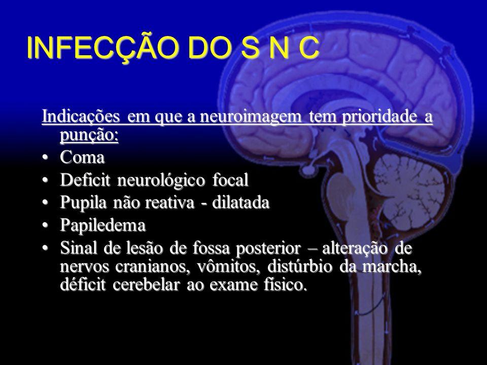 Indicações em que a neuroimagem tem prioridade a punção: ComaComa Deficit neurológico focalDeficit neurológico focal Pupila não reativa - dilatadaPupila não reativa - dilatada PapiledemaPapiledema Sinal de lesão de fossa posterior – alteração de nervos cranianos, vômitos, distúrbio da marcha, déficit cerebelar ao exame físico.Sinal de lesão de fossa posterior – alteração de nervos cranianos, vômitos, distúrbio da marcha, déficit cerebelar ao exame físico.