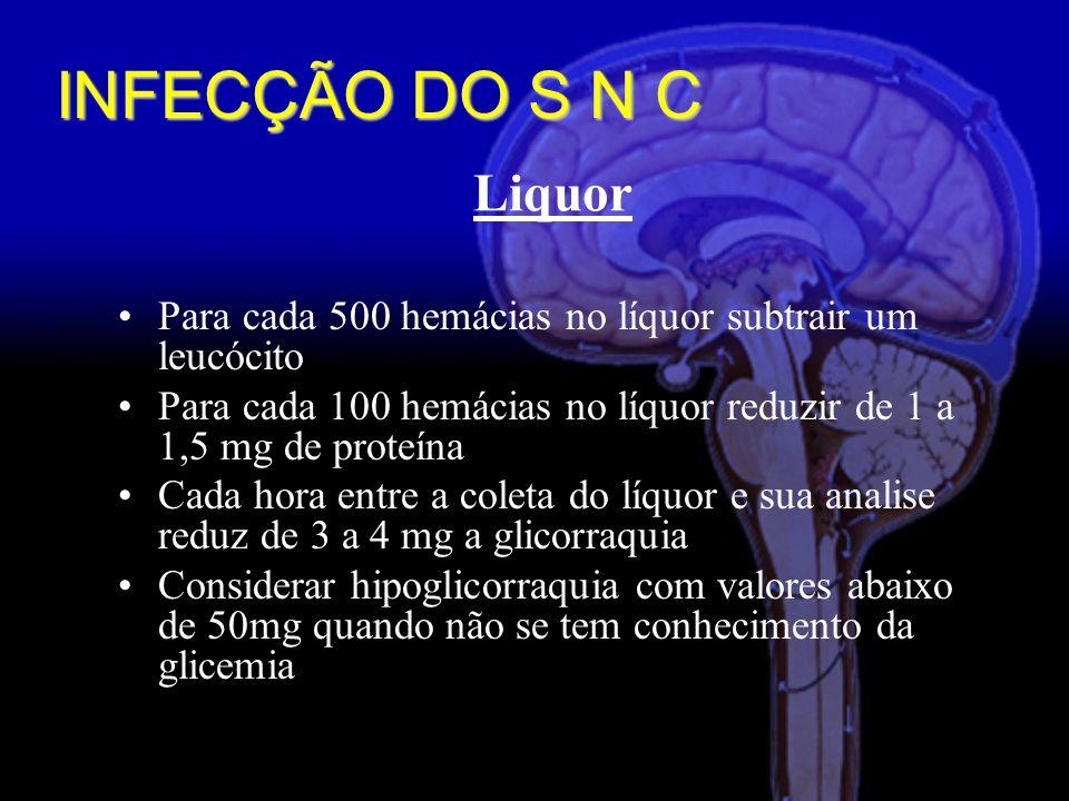 Liquor Para cada 500 hemácias no líquor subtrair um leucócito Para cada 100 hemácias no líquor reduzir de 1 a 1,5 mg de proteína Cada hora entre a coleta do líquor e sua analise reduz de 3 a 4 mg a glicorraquia Considerar hipoglicorraquia com valores abaixo de 50mg quando não se tem conhecimento da glicemia INFECÇÃO DO S N C