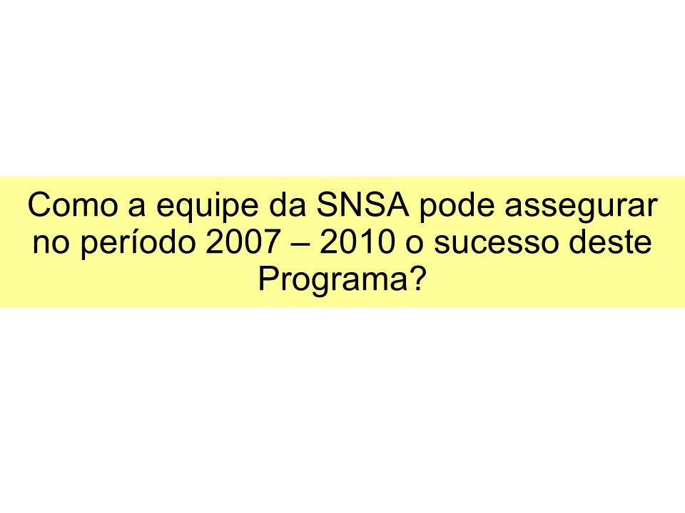 Como a equipe da SNSA pode assegurar no período 2007 – 2010 o sucesso deste Programa?