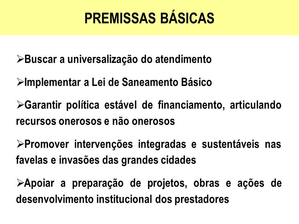 PREMISSAS BÁSICAS Buscar a universalização do atendimento Implementar a Lei de Saneamento Básico Garantir política estável de financiamento, articulan