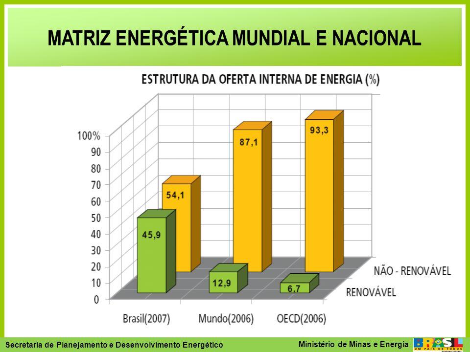 Secretaria de Planejamento e Desenvolvimento Energético - SPE Secretaria de Planejamento e Desenvolvimento Energético Ministério de Minas e Energia TWh TOTAL484,5 Hidro 374,0 Importação38,8 Biomassa18,1 Gás Natural15,5 Petróleo13,3 Nuclear12,4 Carvão Mineral6,8 Gás Industrial 4,5 TWh TOTAL484,5 Hidro 374,0 Importação38,8 Biomassa18,1 Gás Natural15,5 Petróleo13,3 Nuclear12,4 Carvão Mineral6,8 Gás Industrial 4,5 Fonte: MME/ BEN (2008) MATRIZ DE OFERTA DE ENERGIA ELÉTRICA DO BRASIL - 2007 (%) Renovável Brasil: 89% Mundo: 18% Nota: inclui autoprodutores (47,1TWh) %