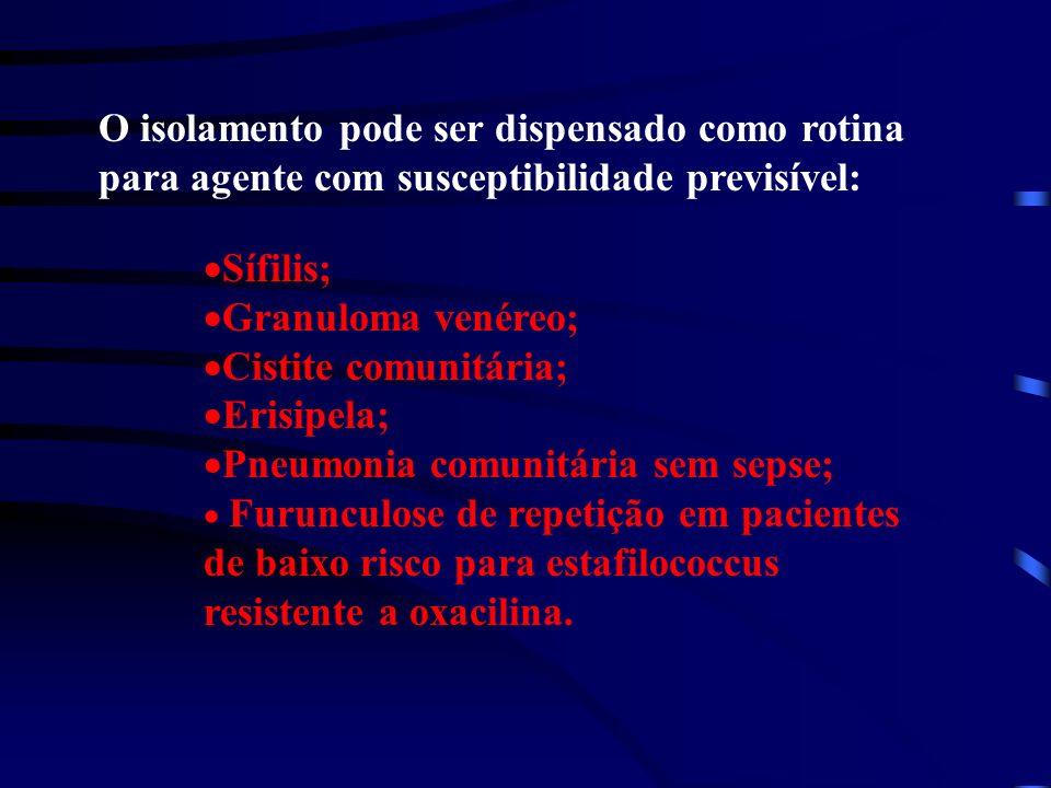 O isolamento pode ser dispensado como rotina para agente com susceptibilidade previsível: Sífilis; Granuloma venéreo; Cistite comunitária; Erisipela;