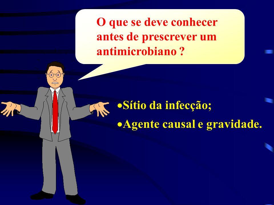 Sítio da infecção; Agente causal e gravidade. O que se deve conhecer antes de prescrever um antimicrobiano ?