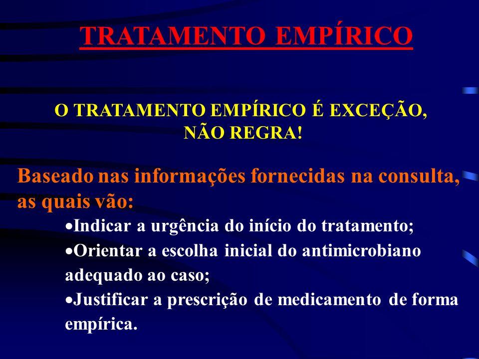 TRATAMENTO EMPÍRICO O TRATAMENTO EMPÍRICO É EXCEÇÃO, NÃO REGRA! Baseado nas informações fornecidas na consulta, as quais vão: Indicar a urgência do in
