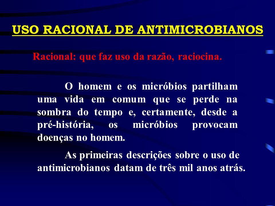 USO RACIONAL DE ANTIMICROBIANOS Racional: que faz uso da razão, raciocina.