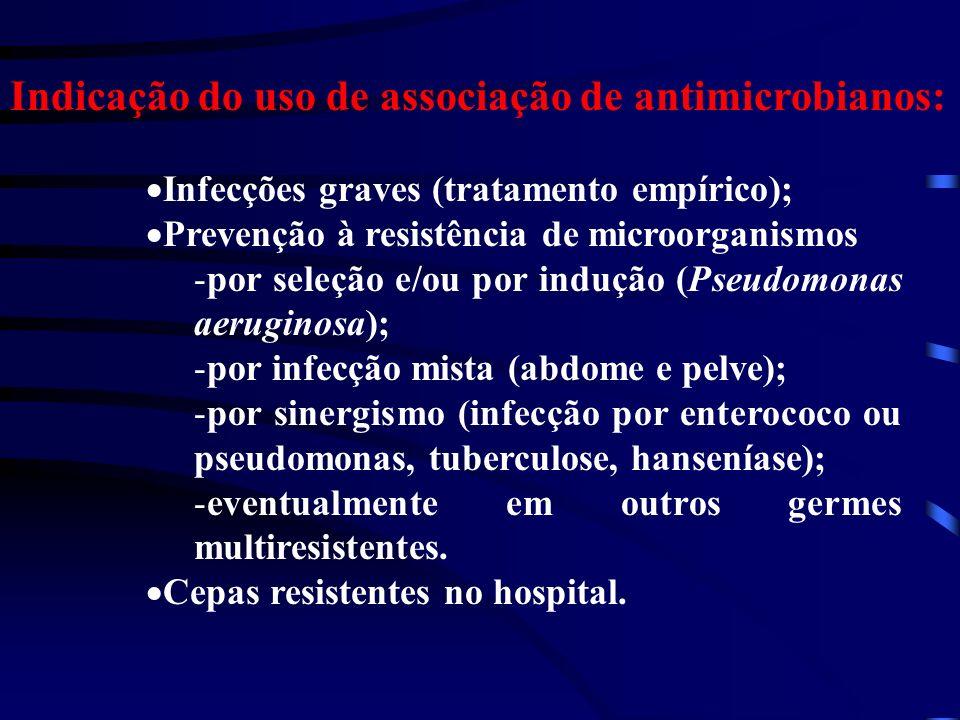 Indicação do uso de associação de antimicrobianos: Infecções graves (tratamento empírico); Prevenção à resistência de microorganismos -por seleção e/ou por indução (Pseudomonas aeruginosa); -por infecção mista (abdome e pelve); -por sinergismo (infecção por enterococo ou pseudomonas, tuberculose, hanseníase); -eventualmente em outros germes multiresistentes.