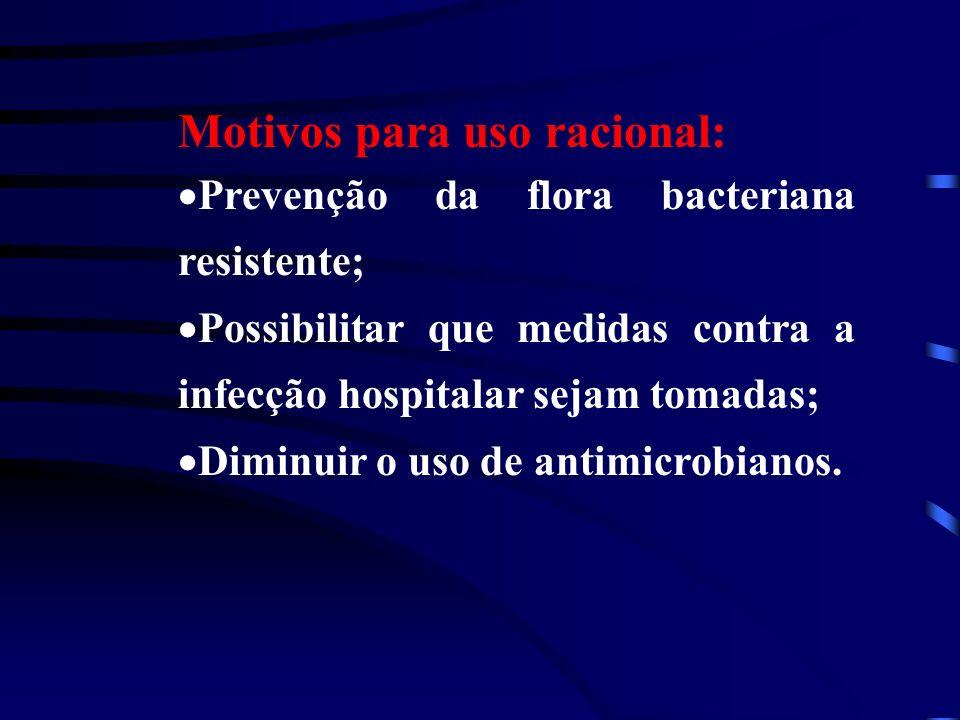 Motivos para uso racional: Prevenção da flora bacteriana resistente; Possibilitar que medidas contra a infecção hospitalar sejam tomadas; Diminuir o uso de antimicrobianos.